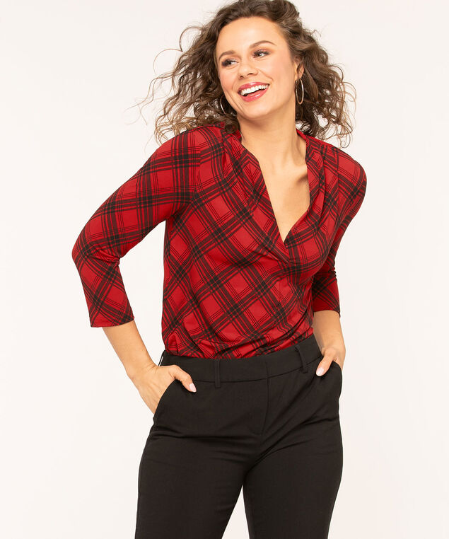 Red Plaid V-Neck Top, Red/Black, hi-res