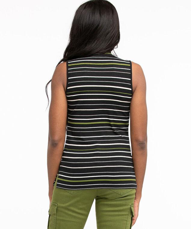 Ribbed Mock Neck Top, Black/Pesto/Ivory Stripe