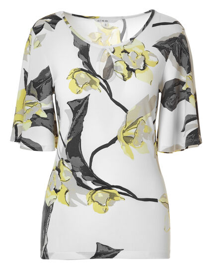 Yellow Floral Bell Sleeve Top, Yellow/Grey Print, hi-res