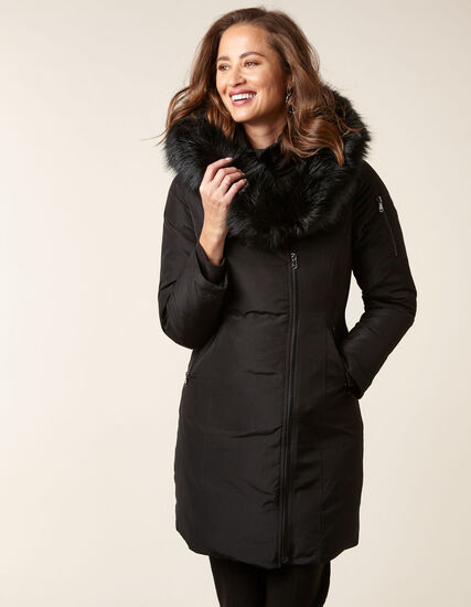 Black Asymmetrical Down Coat, Black, hi-res