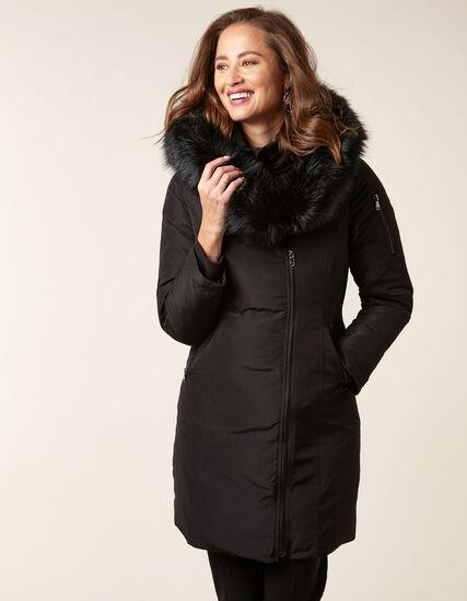Black Asymmetrical Down Coat, Black, hi-res