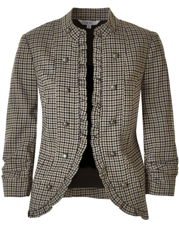 Brown Houndstooth Ruffle Blazer, Brown, hi-res