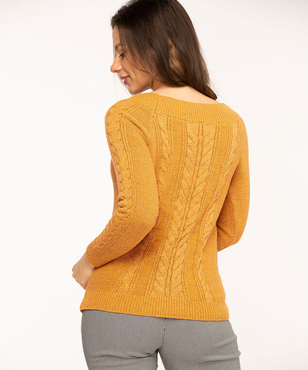 Gold Cable Knit Sweater, Gold Mix