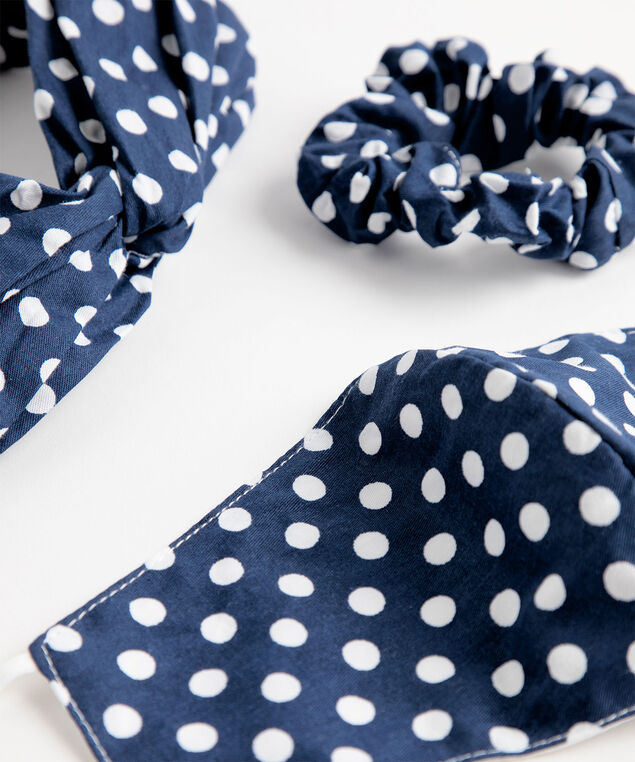 Patterned Mask & Hair Set, Blue/White Polka Dot
