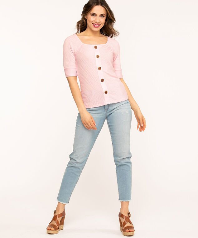 Square Neck Button Top, Pink
