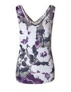 Purple Floral Bubble Crepe Top, Purple/Grey, hi-res