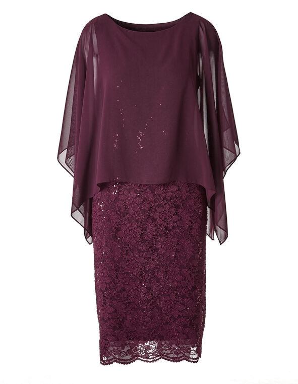Burgundy Popover Sequin Dress, Burgundy, hi-res