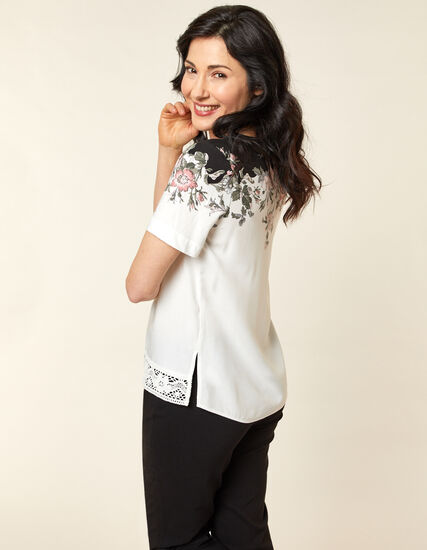 White Floral Lace Hem Top, White, hi-res