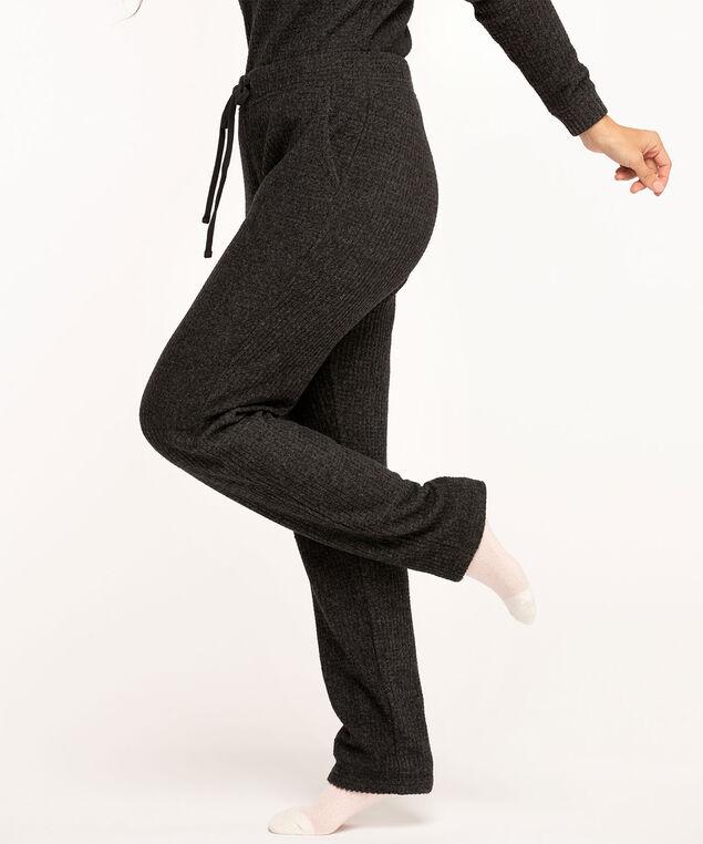 Waffle Knit Slim Leg, Black