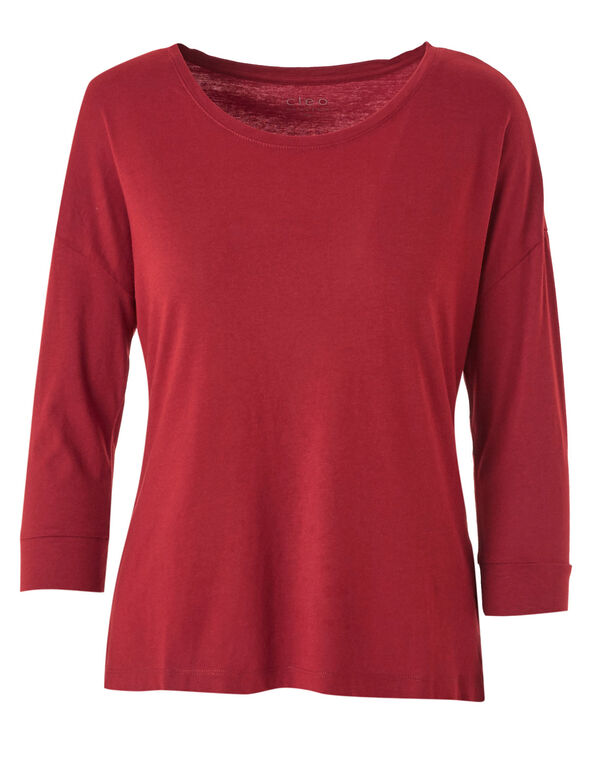 Red Cotton Blend Tee, Red, hi-res