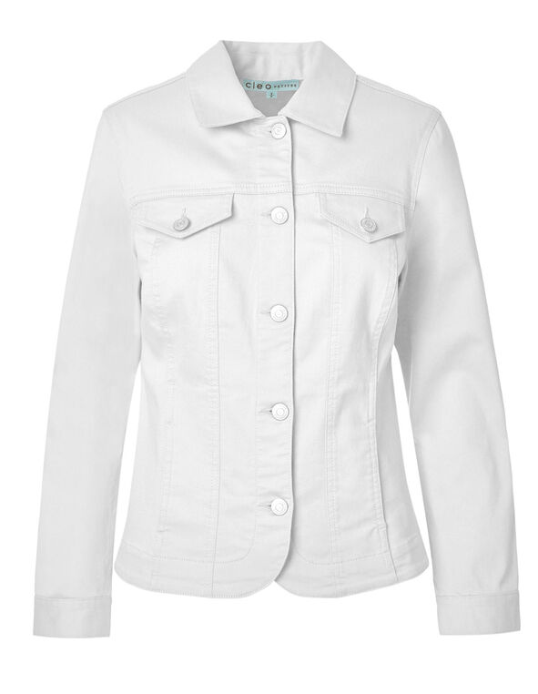 White Denim Jacket, White, hi-res