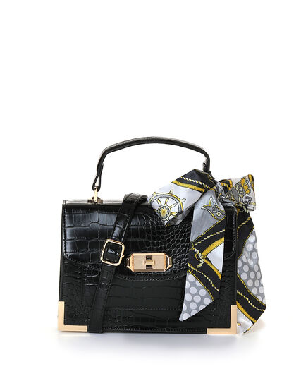 Black Croco Handbag, Black, hi-res