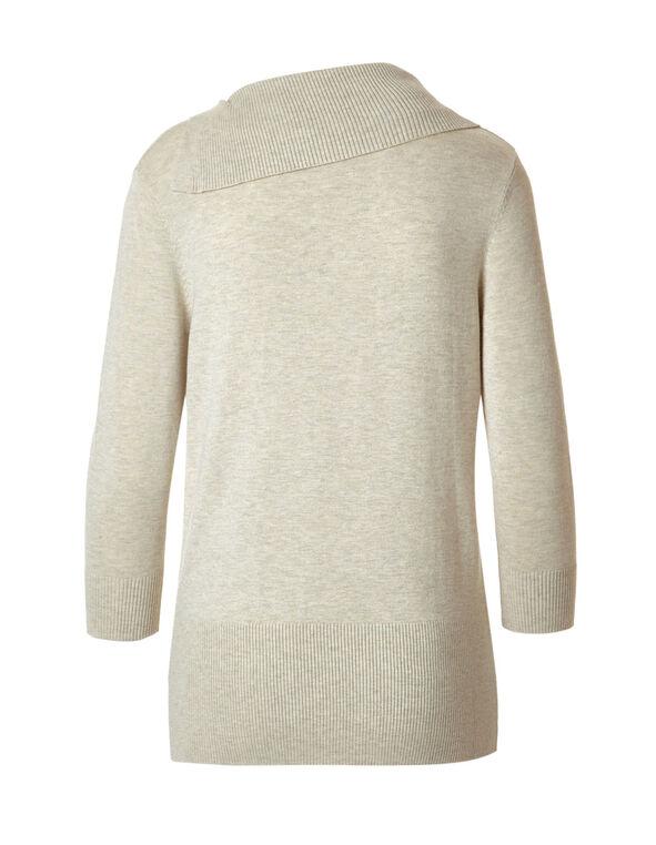 Latte Split Neck Sweater, Latte Mix, hi-res