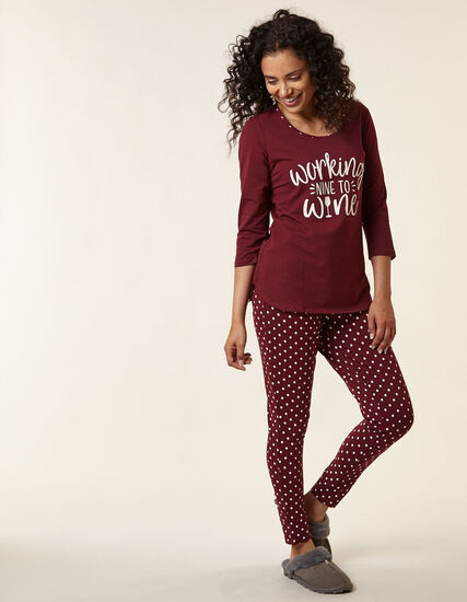 Wine Print Cotton Pyjama Set, Merlot, hi-res