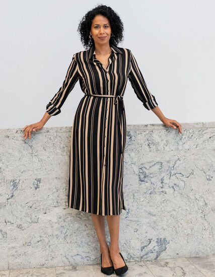 Camel Stripe Shirt Dress, Black, hi-res