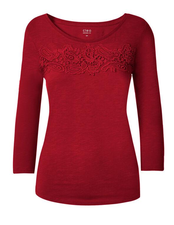 Spring Red Cotton Slub Tee, Spring Red, hi-res