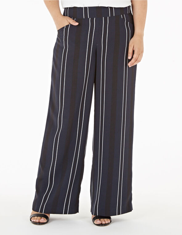 Navy Striped Wide Leg Pant, Navy, hi-res