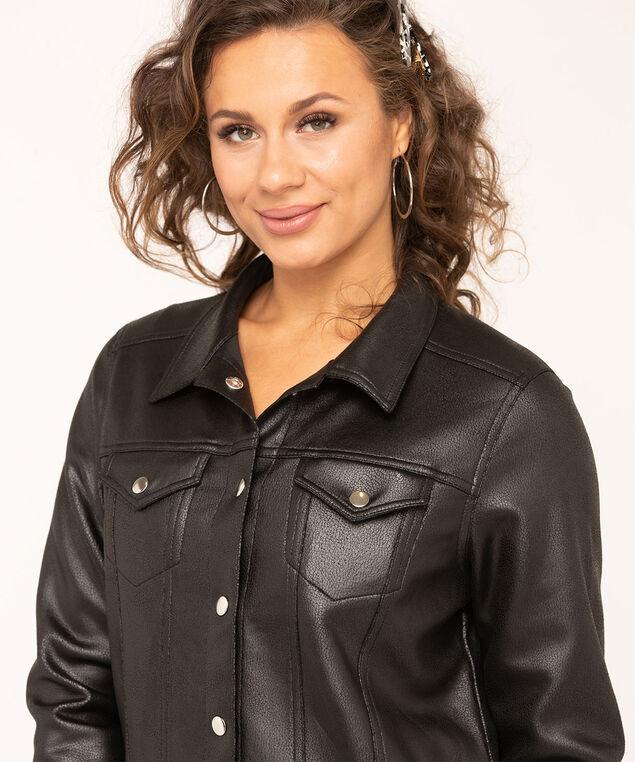 Black Faux Suede Jacket, Black, hi-res