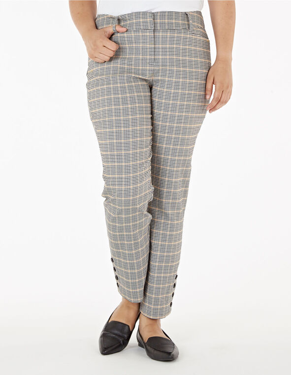 Grey Houndstooth Slim Leg Ankle Pant, Grey, hi-res