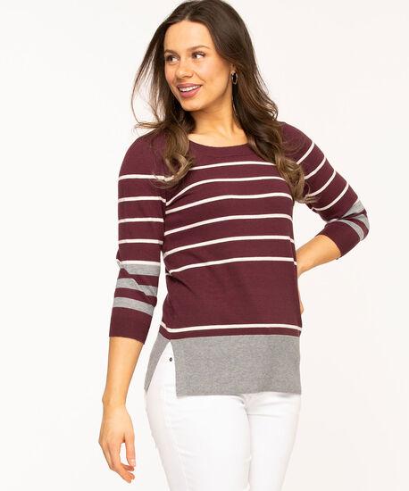 Wine Stripe Pullover Sweater, Wine/Grey/Ivory Stripe, hi-res