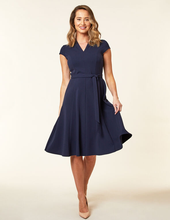 Navy Crepe Fit & Flare Dress, Navy, hi-res