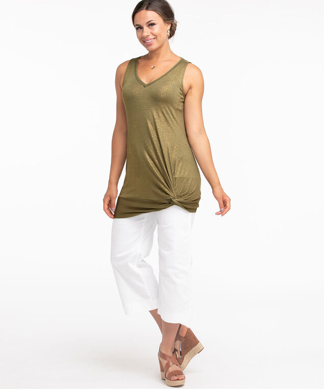 Shimmery Knotted Tunic Top, Olive Shimmer