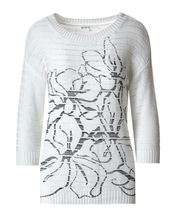 White Acrylic Open Stitch Pullover, White, hi-res