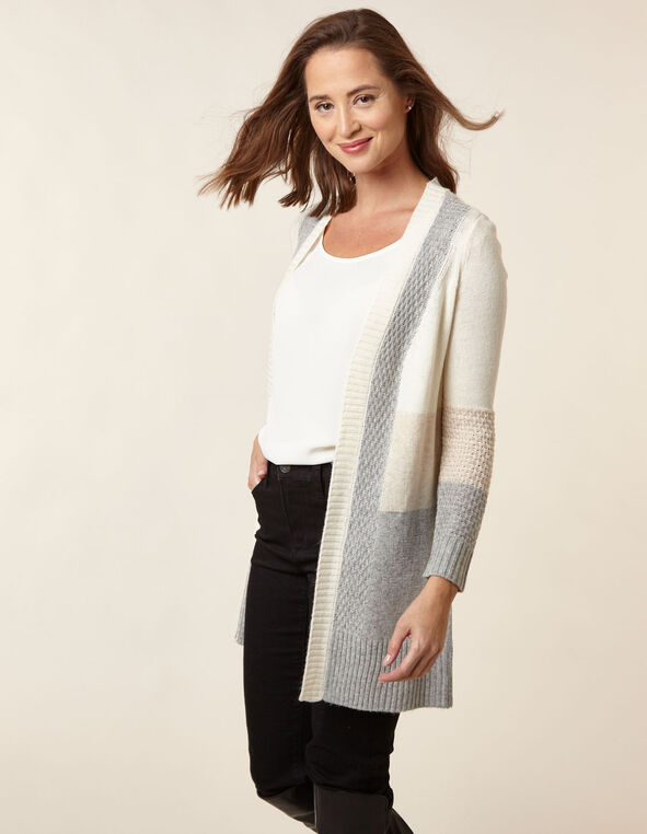 Neutral Colour Block Cardigan, Natural, hi-res