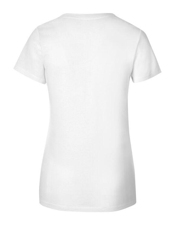 White Graphic V-Neck Tee, White, hi-res