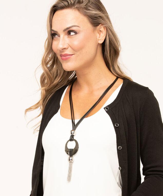 Tassel Pendant Cord Necklace, Silver/Black