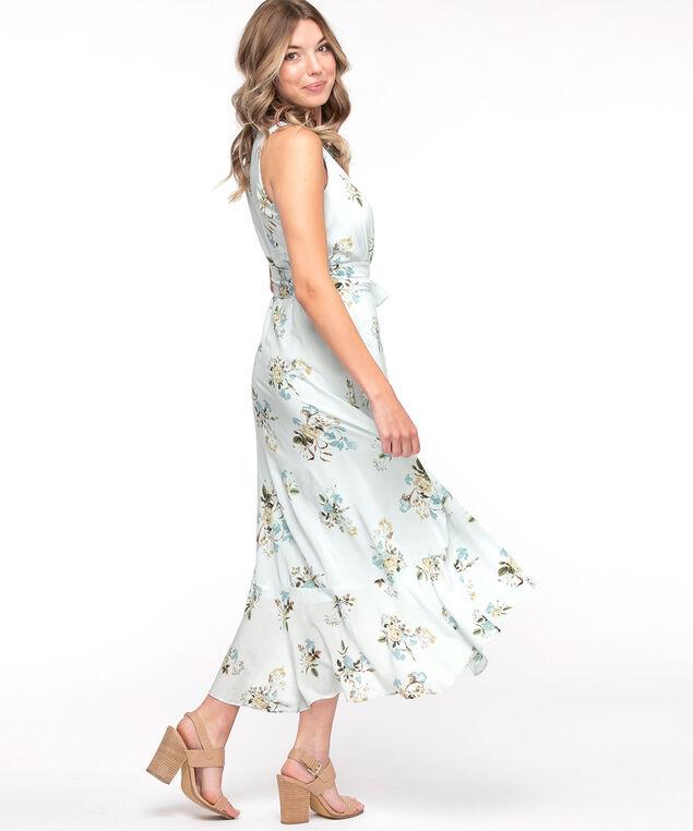 Sleeveless High-Low Maxi Dress, Blue Floral