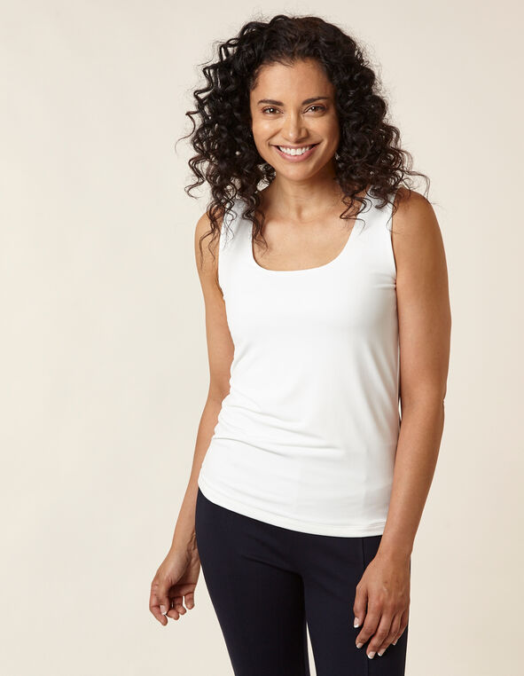 Ivory Essential Scoop Layering Tank, Ivory, hi-res