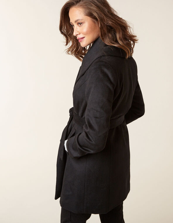 Black Wool Blend Wrap Coat, Black, hi-res