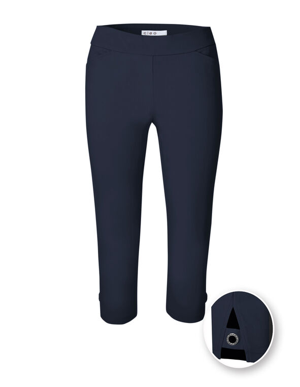 Navy Capri Pull On Pant, Navy, hi-res