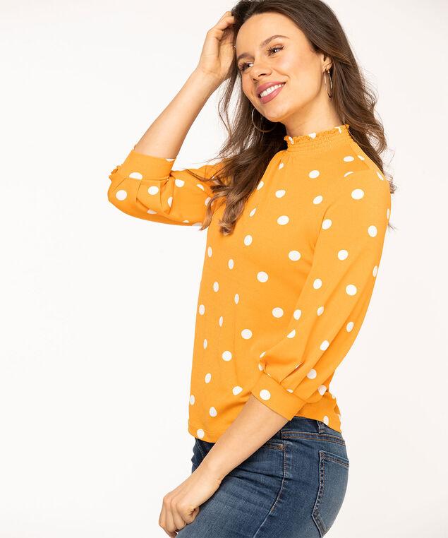 Polka Dot Smocked Neck Top, Gold/White Dot