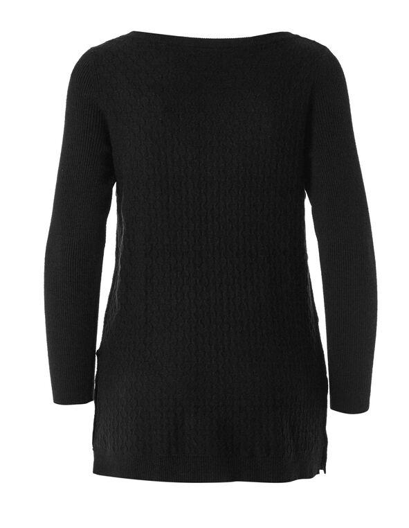 Black Embossed Knit Sweater, Black, hi-res