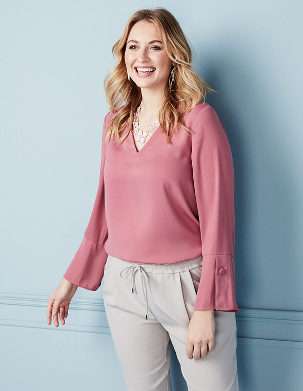 Rose Button Bell Sleeve Blouse, Rose, hi-res