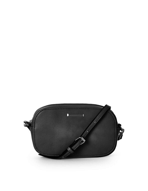 Small Black Rounded Crossbody, Black, hi-res
