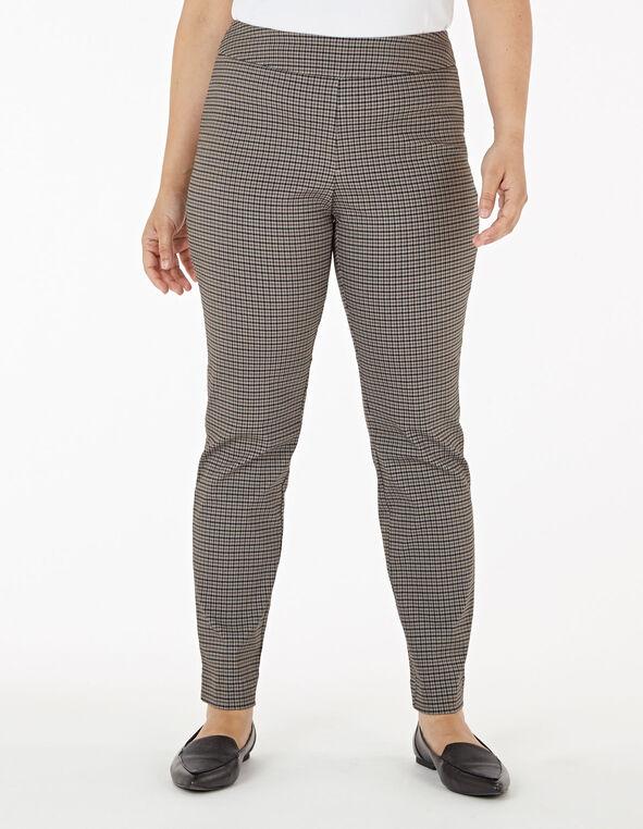 Brown Plaid Pull On Slim Pant, Brown, hi-res