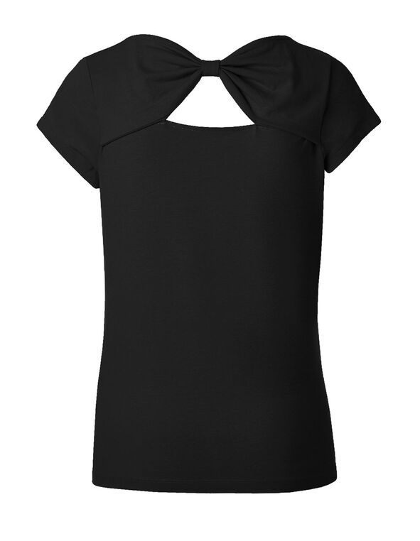 Black Bow Back Cotton Tee, Black, hi-res