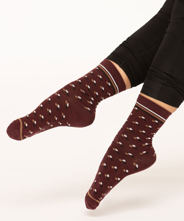 Mulberry Patterned Crew Sock, Mulberry/Camel/Ivory/Black, hi-res