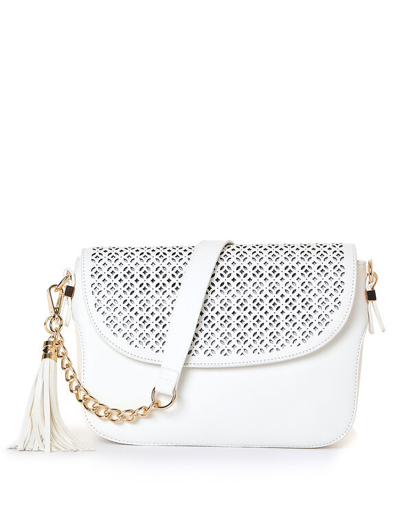 White Laser Cut Handbag, White, hi-res
