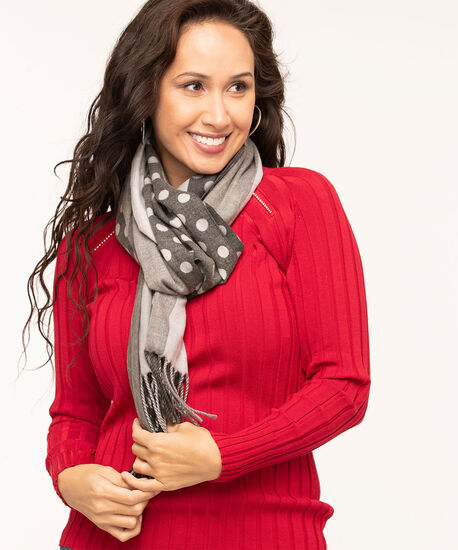 Mixed Stripes & Dots Blanket Scarf, Grey/Charcoal, hi-res