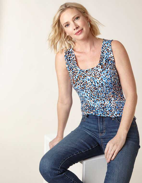 Animal Print Essential Layering Tank, Blue, hi-res