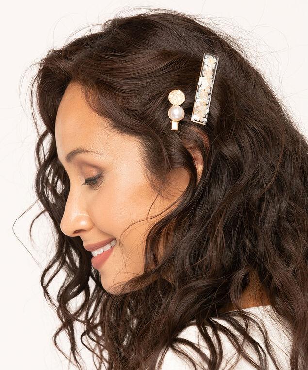 Pearl Hair Clip Set, Pearl/Gold, hi-res