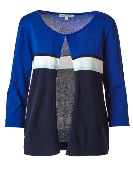 Electric Blue Striped Cardigan, Electric Blue, hi-res