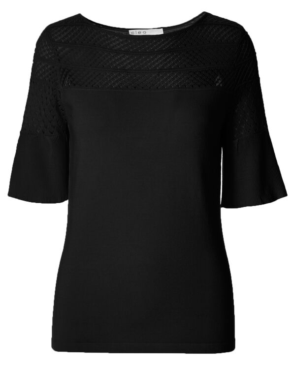 Black Bell Sleeve Crochet Pullover, Black, hi-res