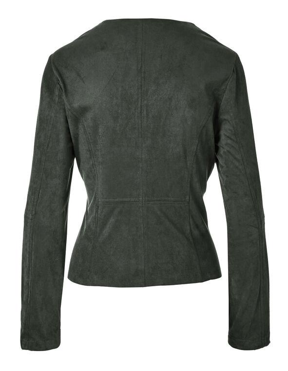 Olive Suede Open Front Jacket, Olive, hi-res