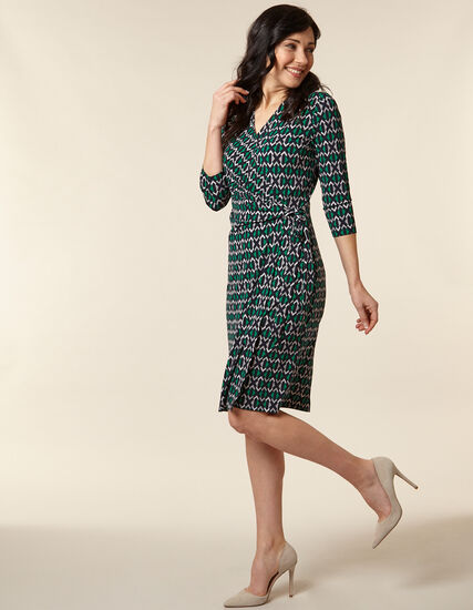 Emerald Geo Print Wrap Dress, Green/Emerald, hi-res