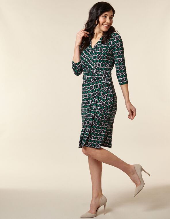 Emerald Geo Print Wrap Dress, Green/Emerald, hi-res